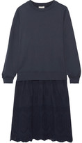 Clu Mix Media Broderie Anglaise-paneled Cotton-jersey Dress - Navy