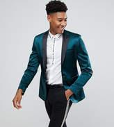 Asos TALL Super Skinny Tuxedo Blazer In Dark Green Sateen