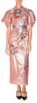 Erdem Emery Floral Sequined Midi Dress, Pink