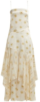 Adriana Iglesias Frida Dandelion-print Silk-blend Satin Dress - Womens - Ivory Multi