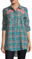 Tolani Neicy Long-Sleeve Resort Plaid Button-Front Shirt
