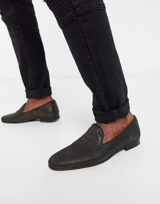 Twisted Tailor fancy loafer in distressed gold
