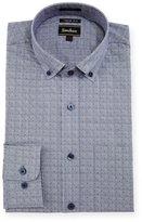 Neiman Marcus Trim-Fit Regular-Finish Check-Dot Print Dress Shirt, Navy