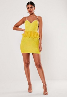 Missguided Yellow Lace Diamante Strap Peplum Mini Dress