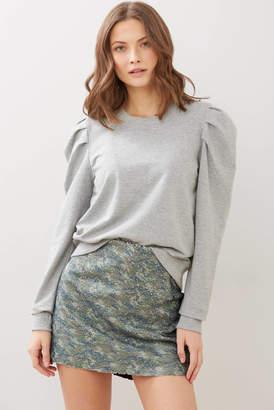 RD Style Ruffle Sleeve Sweatshirt Grey XS