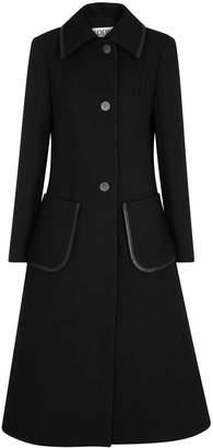 Loewe Black Leather-trimmed Wool Coat