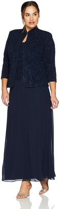 Alex Evenings Women's Plus-Size Plus-Size Jacquard Knit Long Dress and Manadrin Jacket