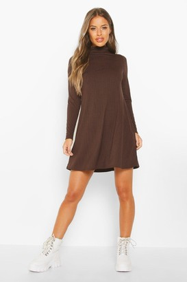 boohoo Petite Rib Roll Neck Long Sleeve Swing Dress