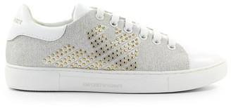 Emporio Armani White Leather Gold Studs Sneaker