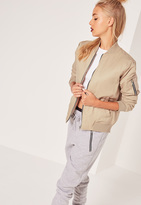 Missguided Soft Touch Bomber Jacket Nude