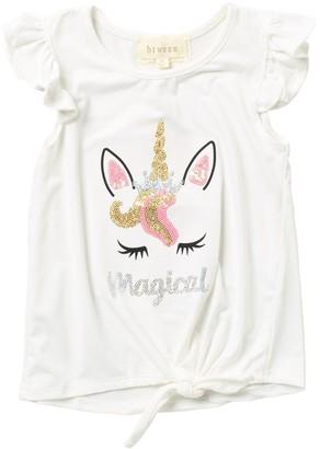 Btween Tie Hem Magical Unicorn Sequin T-Shirt (Toddler Girls)