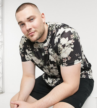 Burton Menswear Big & Tall recycled t-shirt with floral print in black