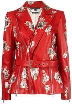 Alexander McQueen floral embroidered biker jacket