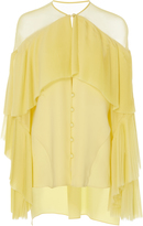 Prabal Gurung Long Sleeve Silk Blouse With Pleated front