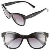 Valentino Women's 52Mm Cat Eye Sunglasses - Black/ Black Crystal