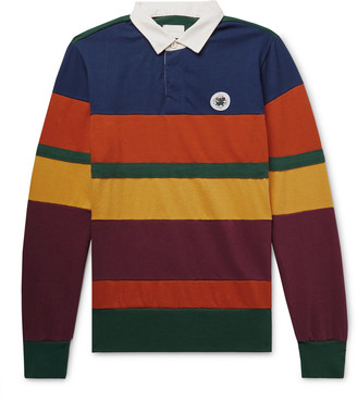Aimé Leon Dore Twill-Trimmed Striped Cotton-Jersey Polo Shirt