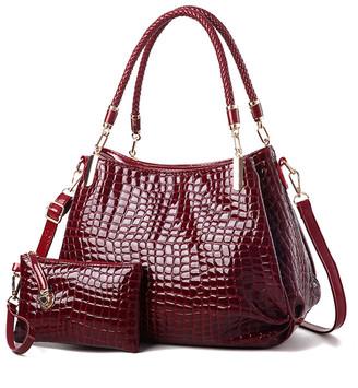Ella & Elly Women's Clutches Red - Red Croc-Embossed Shoulder Bag & Wristlet