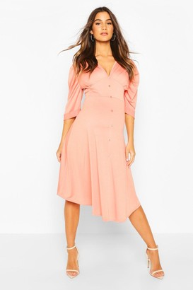 boohoo Maternity Button Front Midi Skater Dress