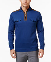 Tasso Elba Men's Quarter-Zip Faux Suede-Trimmed Pullover, Only at Macy's