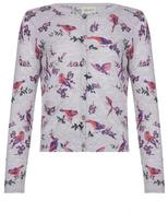 Yumi Floral Bird Knit Cardigan Grey