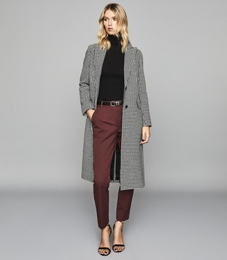 Reiss Joanne - Cropped Tailored Trousers in Berry