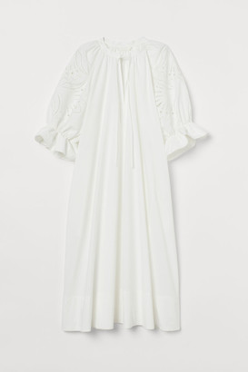 H&M Puff-sleeved Cotton Dress - White