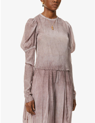 Bell-sleeve stretch-silk top