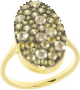 Gregory Ladner Ring Cz 12x20mm Oval Olive/Yellow/Gr