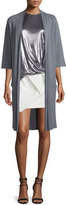 Halston Long Tie-Front Kimono Cardigan, Heather Gray