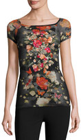 Fuzzi Short-Sleeve Embroidered Floral Tulle Top
