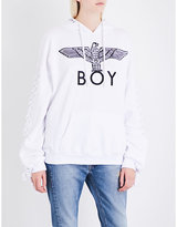 Boy London Lace-up cotton-jersey hoody