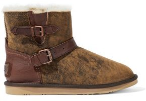 Australia Luxe Collective Buckled Leather-trimmed Burnished Shearling Ankle Boots