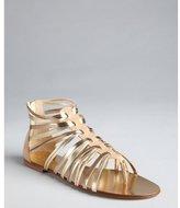 Jimmy Choo brown sugar leather strappy flat zip back 'Chaya' sandals