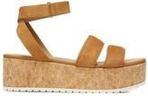 Vince Jet Suede Cork Wedge Platform Sandals