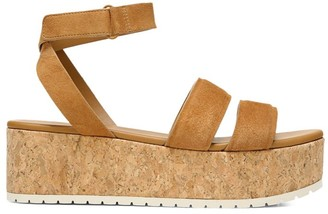 Vince Jet Suede Cork Wedge Platform Sandals