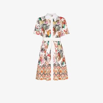 Mary Katrantzou Shell Print Belted Linen mini Dress