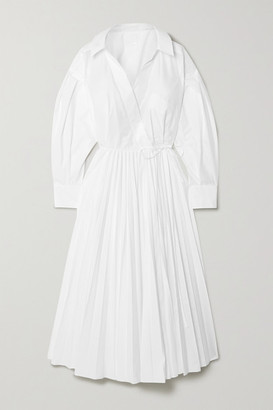 Valentino Pleated Cotton-blend Poplin Shirt Dress - White