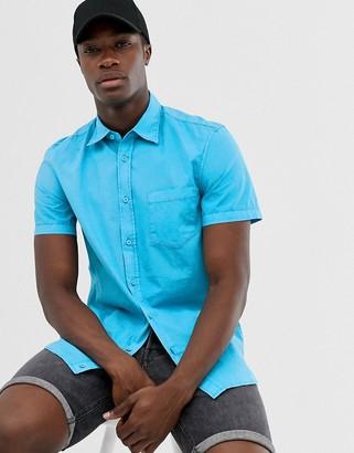 Benetton short sleeve shirt with pocket-Blue