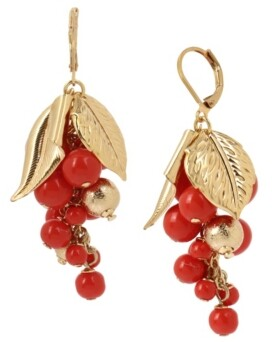 Miriam Haskell New York Mixed Coral Bead Shaky Bead Cluster Drop Earrings