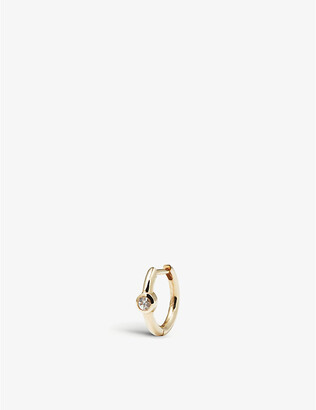 Selfridges Single sapphire gold huggie hoop