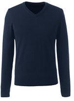 Classic Men's Merino V-neck Sweater Navy Birdseye Pattern