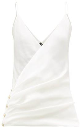 Balmain Wrap-effect Silk Camisole Top - Womens - Ivory