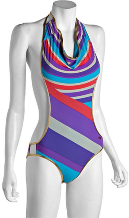 Marc by Marc Jacobs blue striped nylon blend 'Meridia Stripe' open back cowl neck maillot