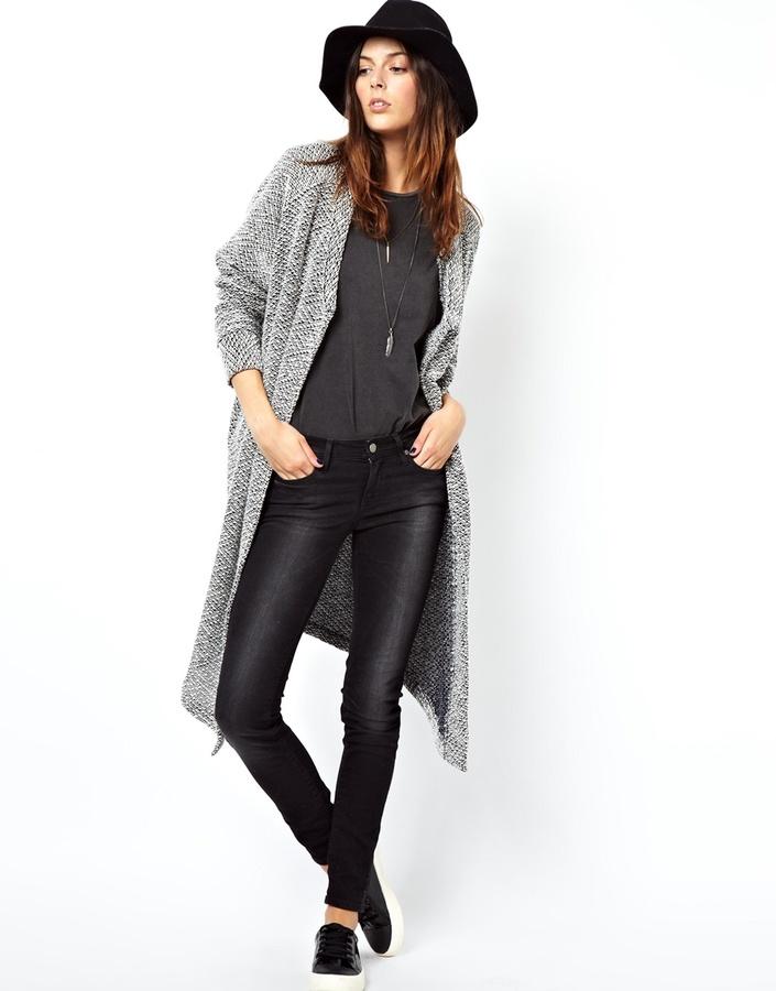 Asos Jacket in Longline Texture - Grey