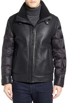 Tumi Men's Genuine Shearling & Nylon Quilted Flight Jacket