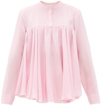 Giambattista Valli Gathered Silk Crepe De Chine Blouse - Womens - Light Pink