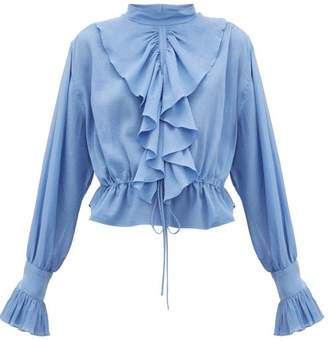 J.W.Anderson Ruffled Funnel-neck Cotton Crepe Blouse - Womens - Blue