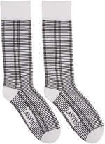 Lanvin White and Black Check Logo Socks