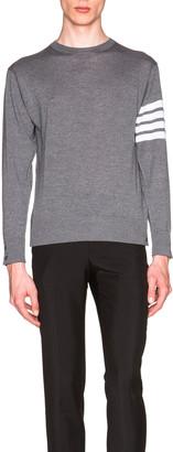 Thom Browne Classic Merino Crewneck Sweater in Medium Grey | FWRD