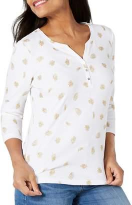 Karen Scott Petite Fronds Flutter Henley Shirt